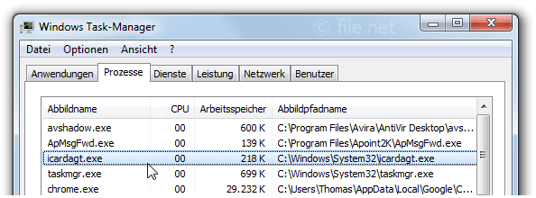 Windows Task-Manager mit icardagt