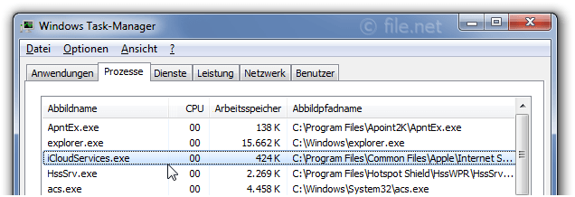 Windows Task-Manager mit iCloudServices
