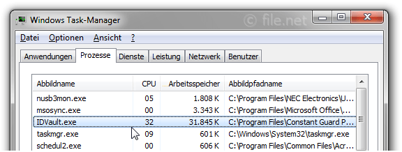 Windows Task-Manager mit IDVault