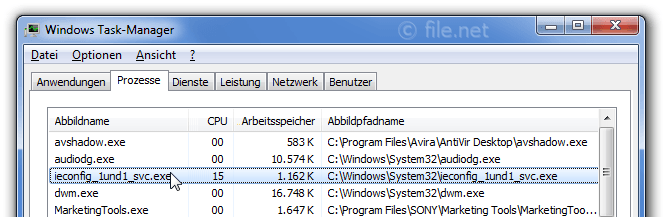 Windows Task-Manager mit ieconfig_1und1_svc