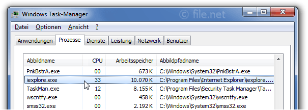 Windows Task-Manager mit iexplore