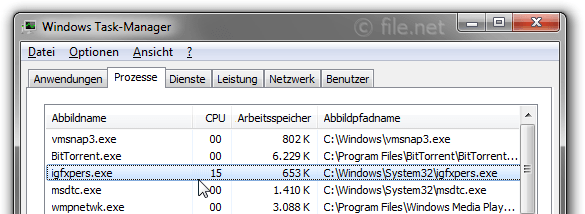 Windows Task-Manager mit igfxpers