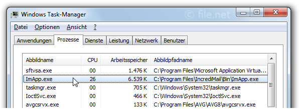 Windows Task-Manager mit ImApp
