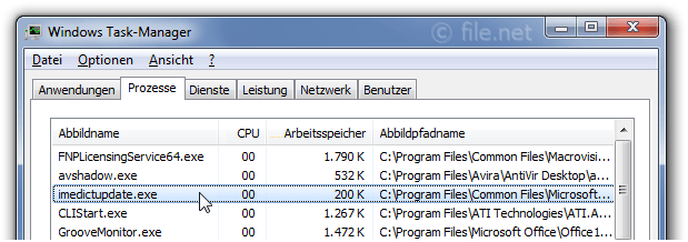 Windows Task-Manager mit imedictupdate
