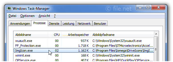 Windows Task-Manager mit ImgIcon