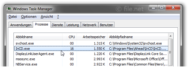 Windows Task-Manager mit InCD