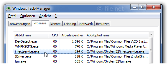 Windows Task-Manager mit InjectService
