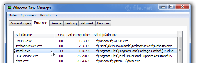 Windows Task-Manager mit install