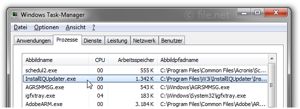 Windows Task-Manager mit InstallIQUpdater