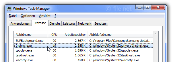 Windows Task-Manager mit Instmsi