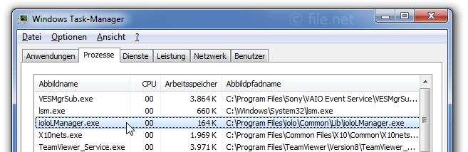 Windows Task-Manager mit ioloLManager
