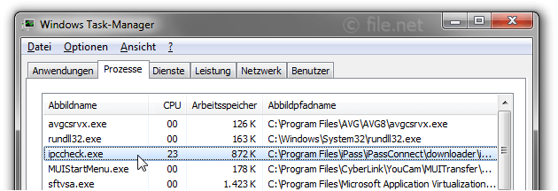 Windows Task-Manager mit ipccheck