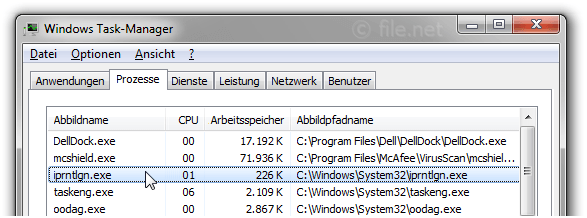 Windows Task-Manager mit iprntlgn
