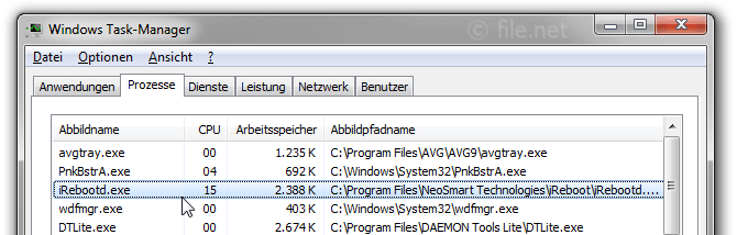 Windows Task-Manager mit iRebootd