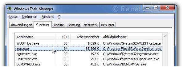 Windows Task-Manager mit iron