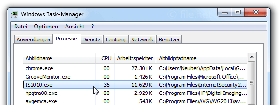 Windows Task-Manager mit IS2010