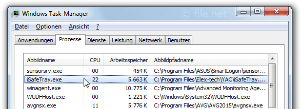 Windows Task-Manager mit iSafeTray