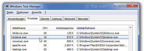 Windows Task-Manager mit iscsiexe