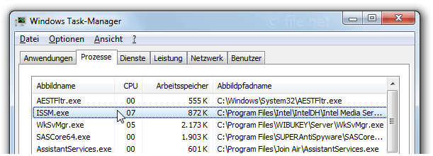 Windows Task-Manager mit ISSM