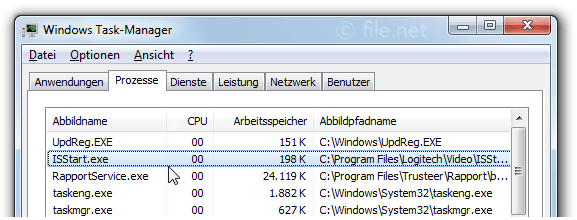 Windows Task-Manager mit ISStart