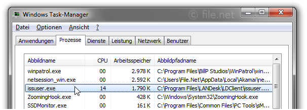 Windows Task-Manager mit issuser
