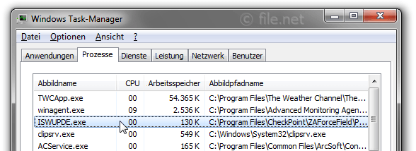 Windows Task-Manager mit ISWUPDE