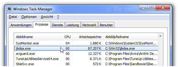 Windows Task-Manager mit jbdsa