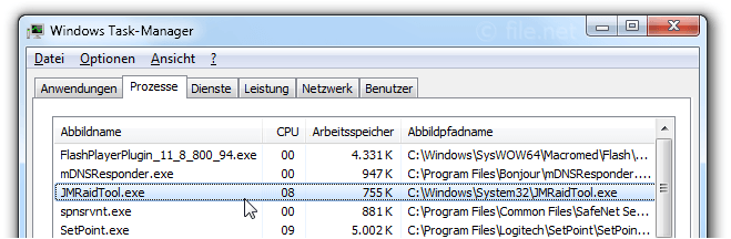 Windows Task-Manager mit JMRaidTool