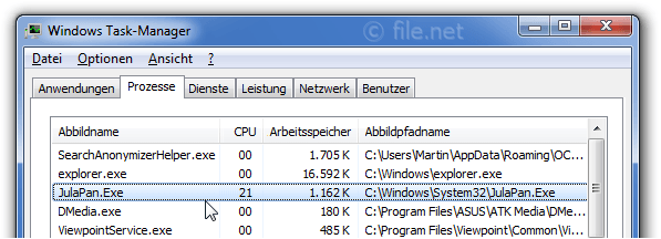 Windows Task-Manager mit JulaPan