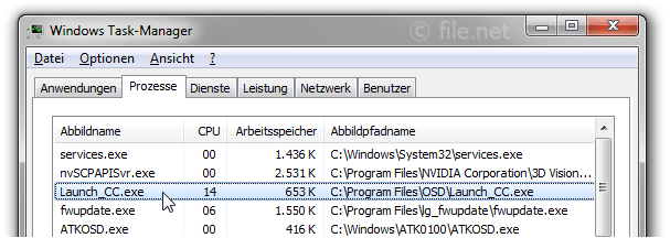 Windows Task-Manager mit Launch_CC