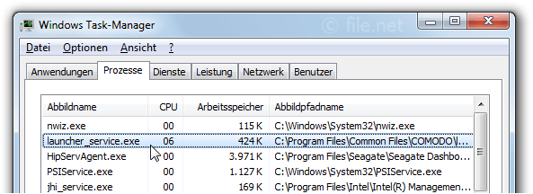 Windows Task-Manager mit launcher_service