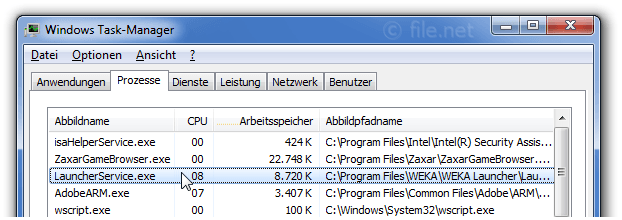 Windows Task-Manager mit LauncherService