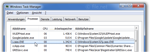 Windows Task-Manager mit Lcass