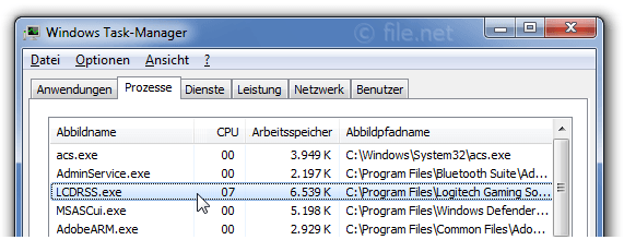 Windows Task-Manager mit LCDRSS