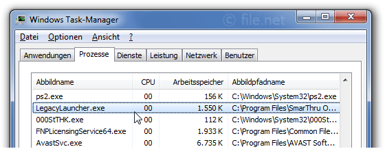 Windows Task-Manager mit LegacyLauncher