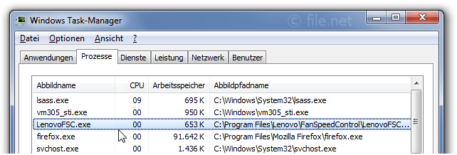 Windows Task-Manager mit LenovoFSC