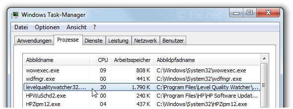 Windows Task-Manager mit levelqualitywatcher32