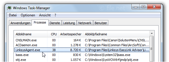 Windows Task-Manager mit LinksysAgent
