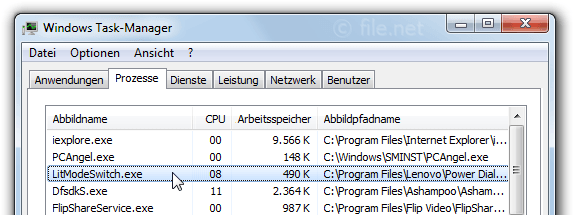 Windows Task-Manager mit LitModeSwitch