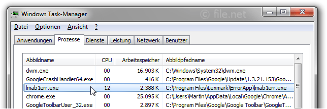 Windows Task-Manager mit lmab1err