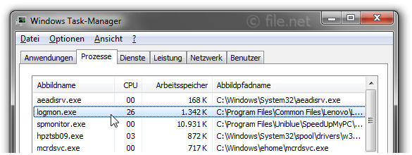 Windows Task-Manager mit logmon