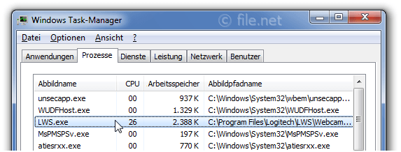 Windows Task-Manager mit LWS