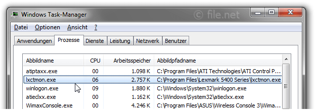 Windows Task-Manager mit lxctmon