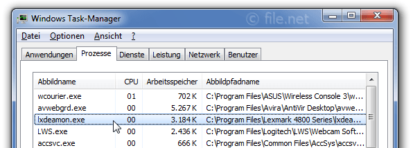 Windows Task-Manager mit lxdeamon