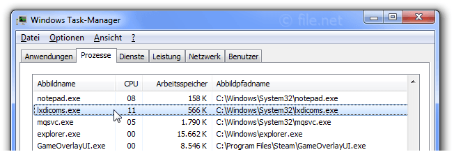 Windows Task-Manager mit lxdicoms