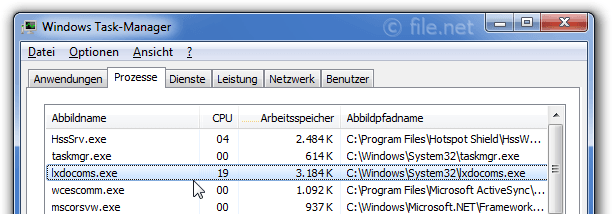 Windows Task-Manager mit lxdocoms