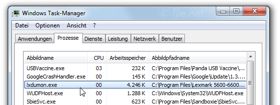 Windows Task-Manager mit lxdumon