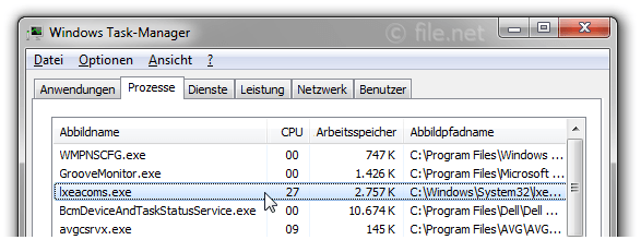Windows Task-Manager mit lxeacoms