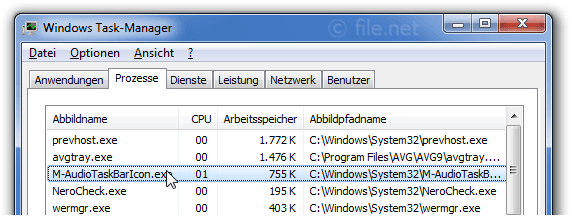 Windows Task-Manager mit M-AudioTaskBarIcon