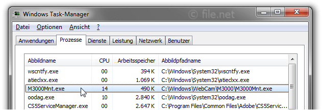 Windows Task-Manager mit M3000Mnt